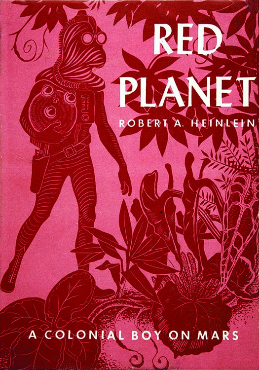 "Cover illustration of Robert Heinlein's ""Red Planet."""