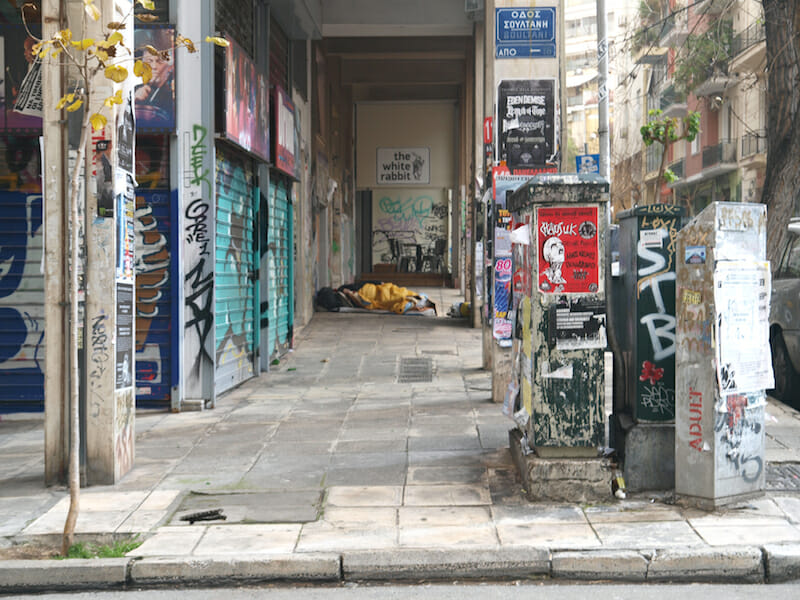 Woman Sleeping, Soultani Street, Athens, Greece / Photo by Marion Appelbaum