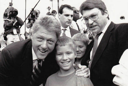 Joe near the height of his middle-class period, meeting candidate Bill Clinton  on the 1992 campaign trail. Courtesy of Barbara Dickinson.