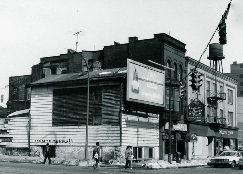 "PHOTOGRAPH COURTESY OF DAVID TORKE 			Buffalo's population declined by more than one hundred thousand people in the 1970s, when Chippewa Street was called the ""Street of Broken Dreams."""