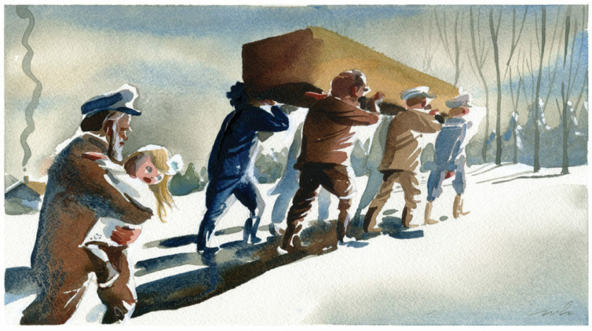 Illustration by Marcellus Hall of several men carrying a coffin on their shoulders.
