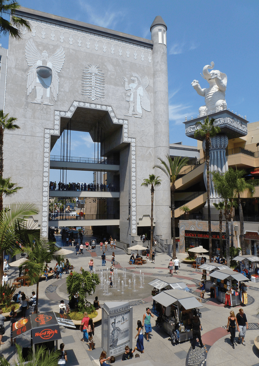 Babylonian-style monument in homage to the film Intolerance.