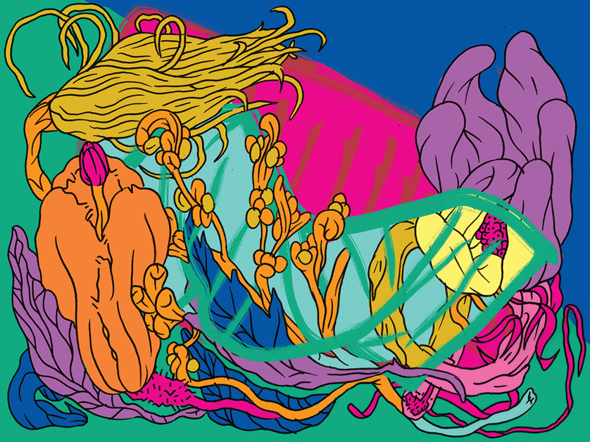 A psychedelic undersea nature scene featuring tall orange plants.