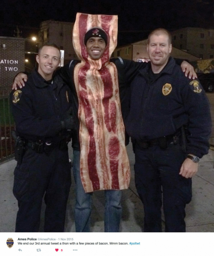 Ames Police ends their tweet-a-thon with bacon.