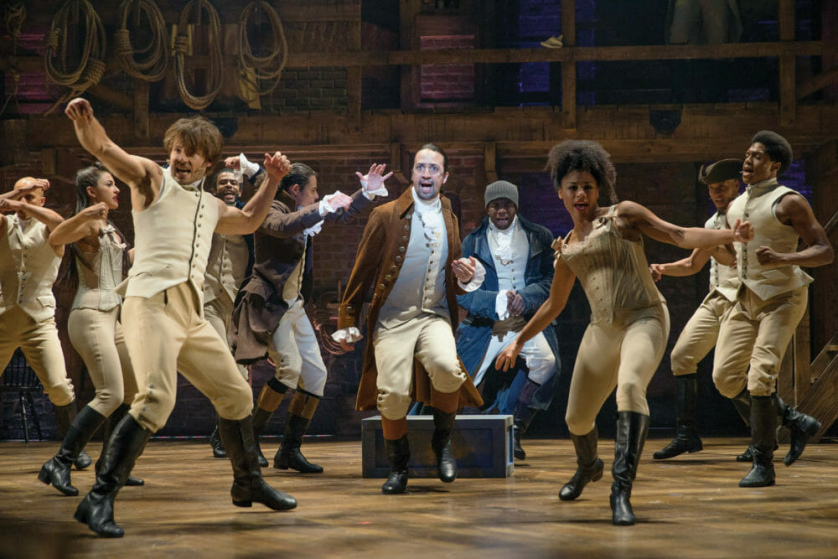 """Lin-Manuel Miranda, center, and the cast of """"Hamilton"""" at the Richard Rodgers Theater."""