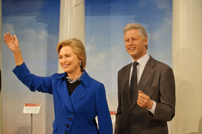 Wax figures of Bill and Hillary Clinton, angels of history. /