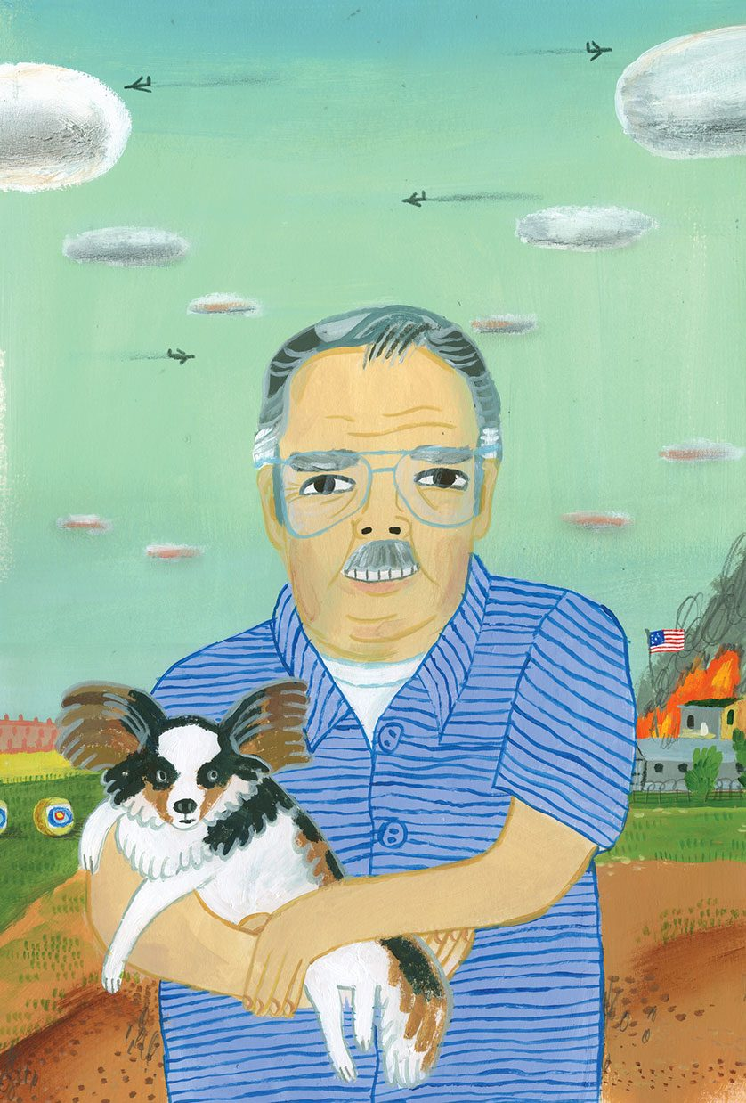 angry white man with small dog