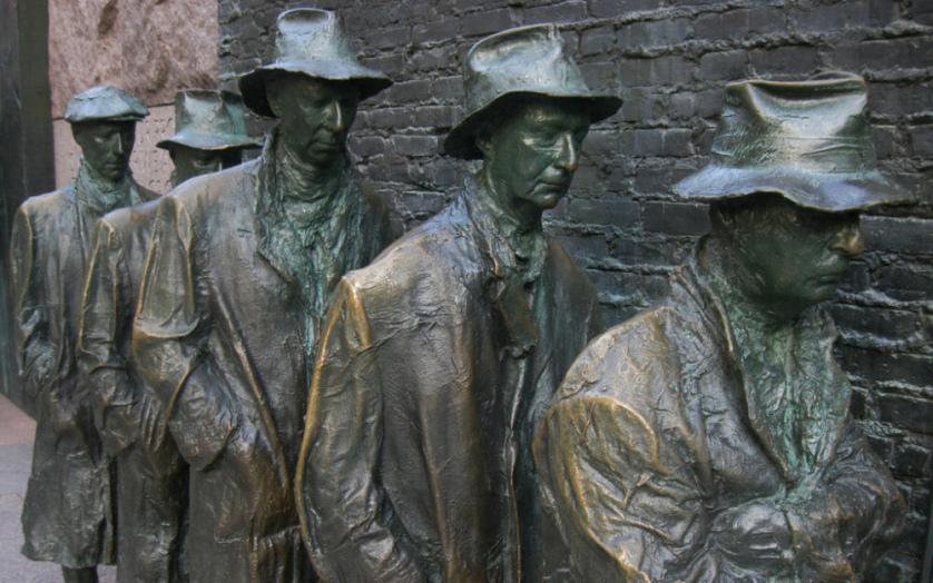statue of men in unemployment line