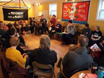 A meeting of the Southern Maine Workers Center. / Photo courtesy of Cait Vaughan