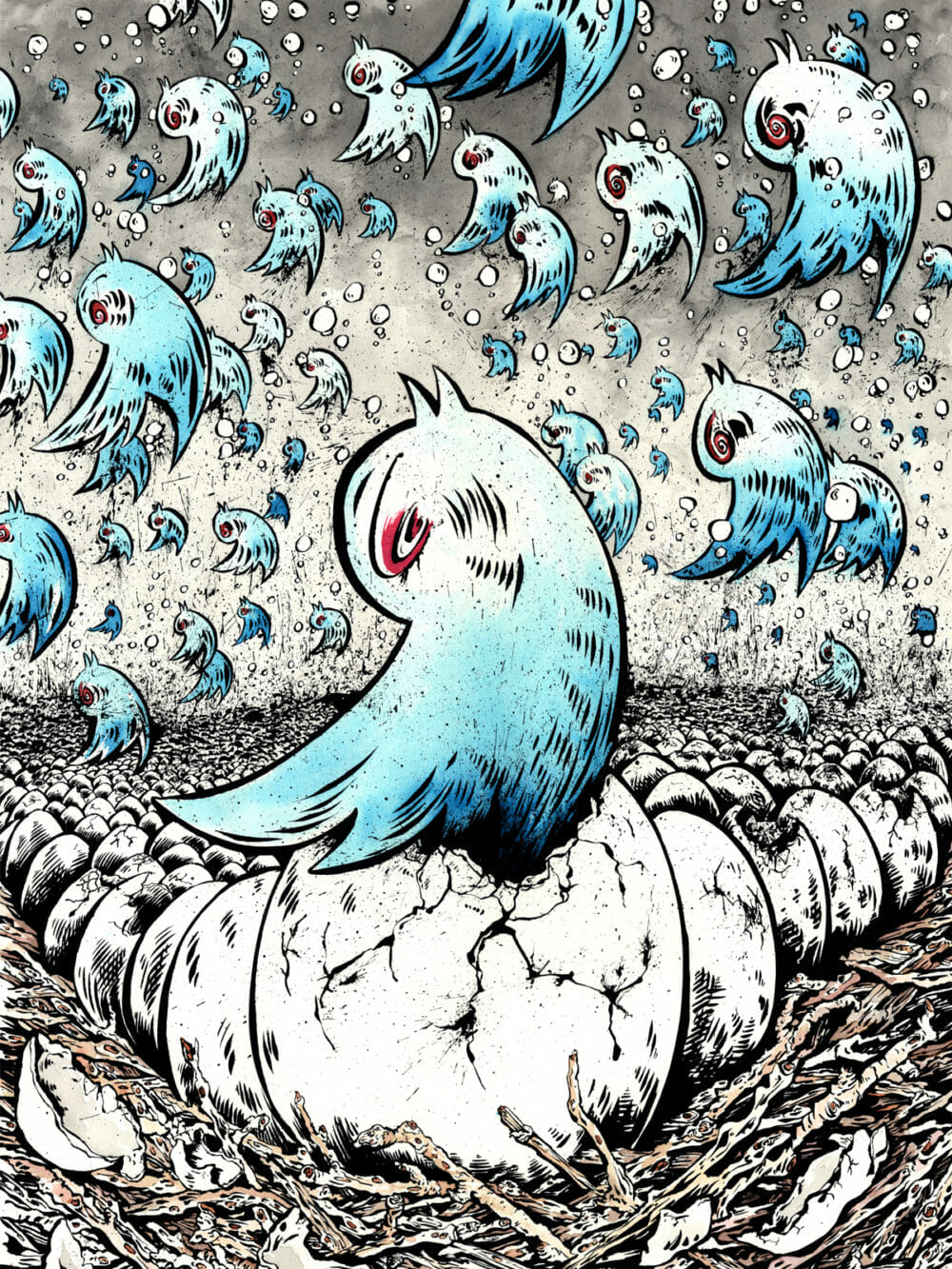 Twitter birds fall from the sky