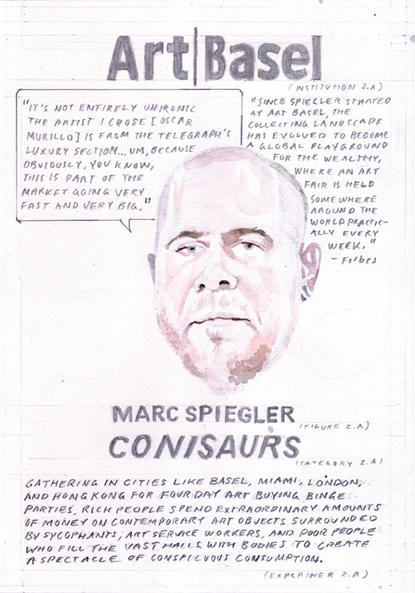 """[Card Two, depicting a watercolor of Marc Spiegler as an example of """"Conisaurs,"""" with text surrounding the portrait] Quote from Spiegler: """"It's not entirely unironic the artist I chose [Oscar Murillo] is far from the Telegraph's luxury section . . . um, because obviously, you know, this is part of the market going very fast and very big."""" Quote from Forbes: """"Since Spiegler started at Art Basel, the collecting landscape has evolved to become a global playground for the wealthy, where an art fair is held somewhere around the world practically every week."""" Description of the category """"Conisaurs"""": Gathering in cities like Basel, Miami, London, and Hong Kong for four day art buying binge parties, rich people spend extraordinary amounts of money on contemporary art objects surrounded by sycophants, art service workers, and poor people who fill the vast halls with bodies to create a spectacle of conspicuous consumption."""