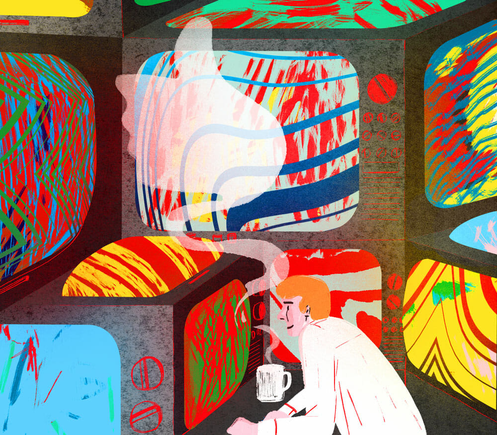 pop art image of a stack of televisions and a man watching intently