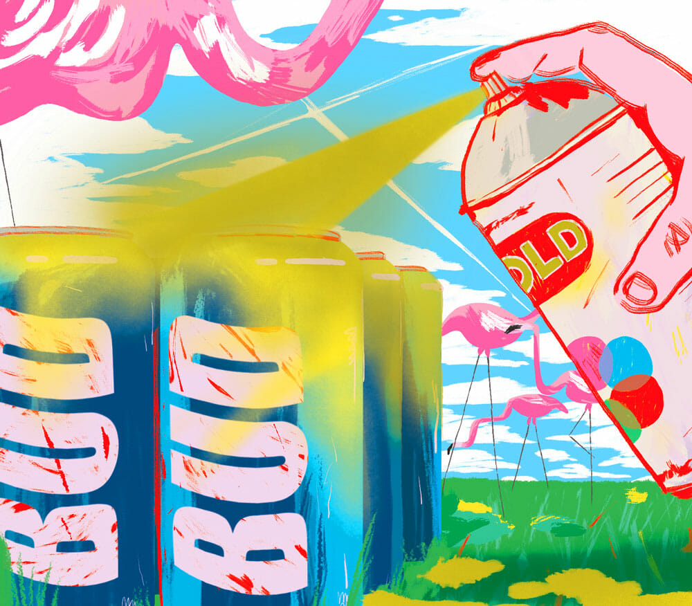 spray painted beer cans