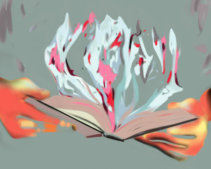 flames burst from the pages of a book held open in someone's hands
