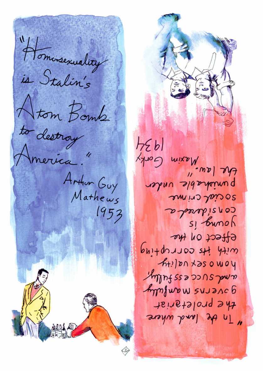 "On the left, above a watercolor painting of two dapper young men at a table, the following text: ""'Homosexuality is Stalin's Atom bomb to destroy America.' — Arthur Guy Matthews 1953""On the right, above a water color of two young men with their fists raised, the following text: ""'In the land where the proletariat governs manfully and successfully, homosexuality with its corrupting effect on the young is considered a social crime punishable under the law.' — Maxim Gorky, 1934"""