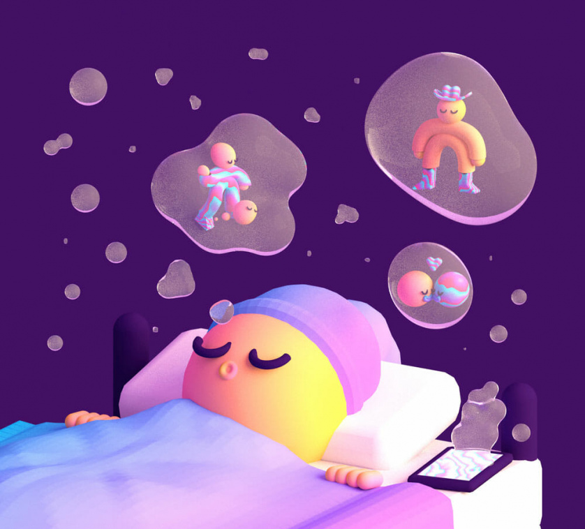 A sleeping tubular child dreams of love and cowboy hats.