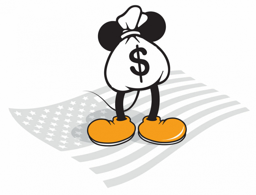 A bag of money with Mickey Mouse-like ears stands on the American flag.
