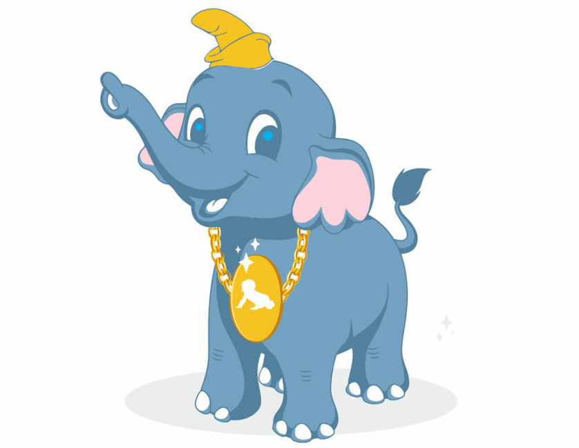 Dumbo wears a gaudy chain necklace emblazoned with a crawling baby.