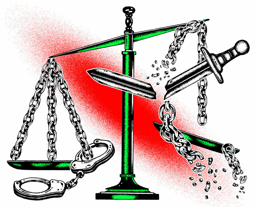 The scales of justice break, weighed down by handcuffs.