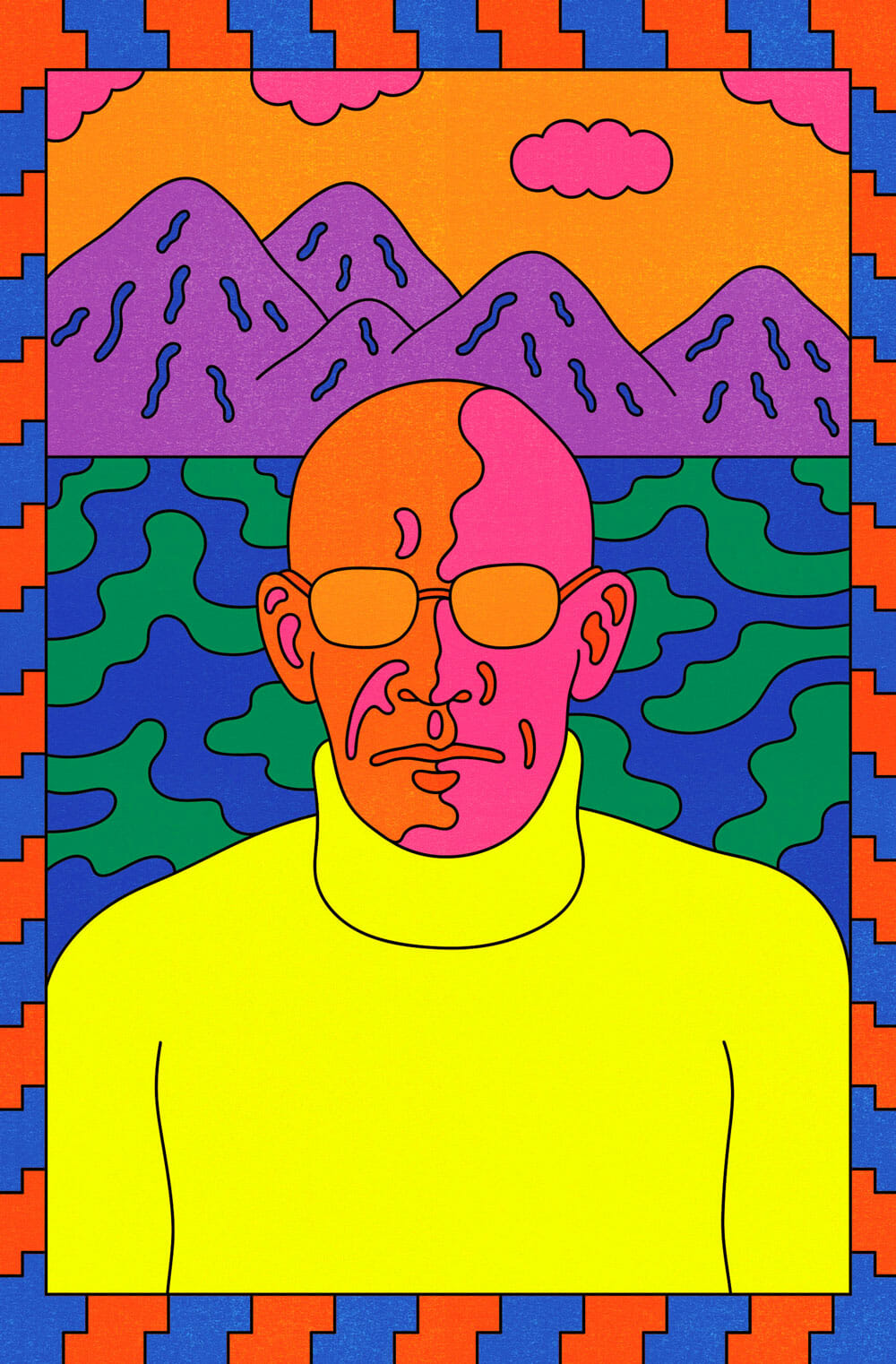 A psychedelic, acid-inspired rendering of Michel Foucault in front of a mountain landscape.