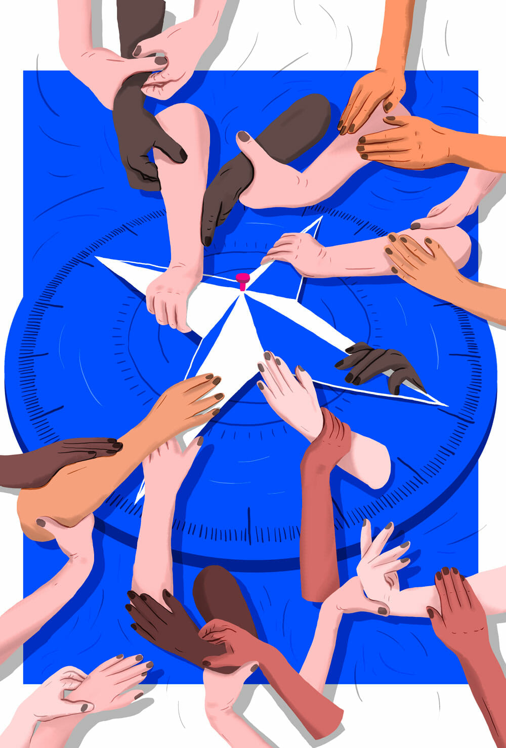 A diverse group of disembodied forearms hold each other as they cling to the cardinal directions on a compass.