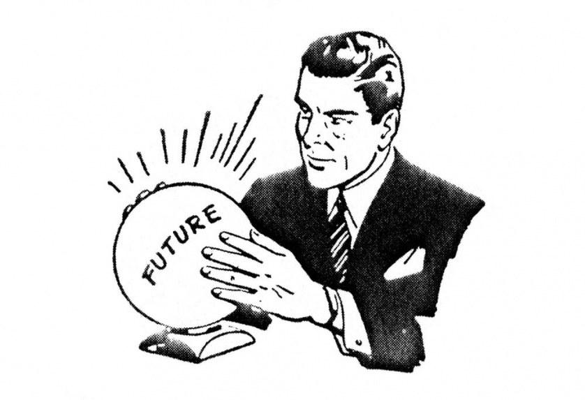 "A serious looking 1950s company man holds a crystal ball labeled ""FUTURE"" with both of his hands."