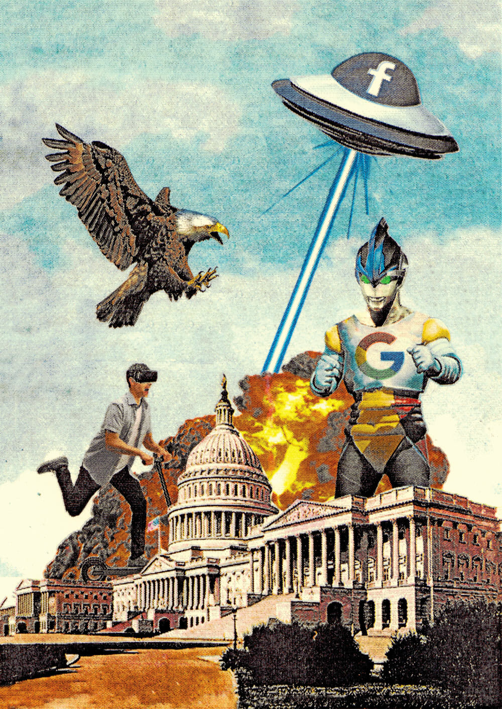 A flying saucer and a ten-story robot emblazoned with the Facebook and Google logos destroy the Capitol Building alongside a giant eagle and a man riding an electric scooter with virtual reality goggles. There are explosions.