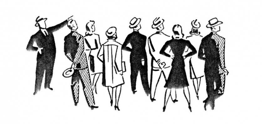 A 1940s to 1950s stylized cartoon of faceless people look away from the viewer as a man points his arm upwards.