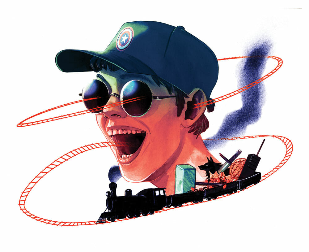 A prototypical fanboy wearing a Captain America hat opens his mouth wide for the Content Train carrying TV and sports trivia. The train tracks loop out his ears and straight back into his eyes in grotesque feedback loop.