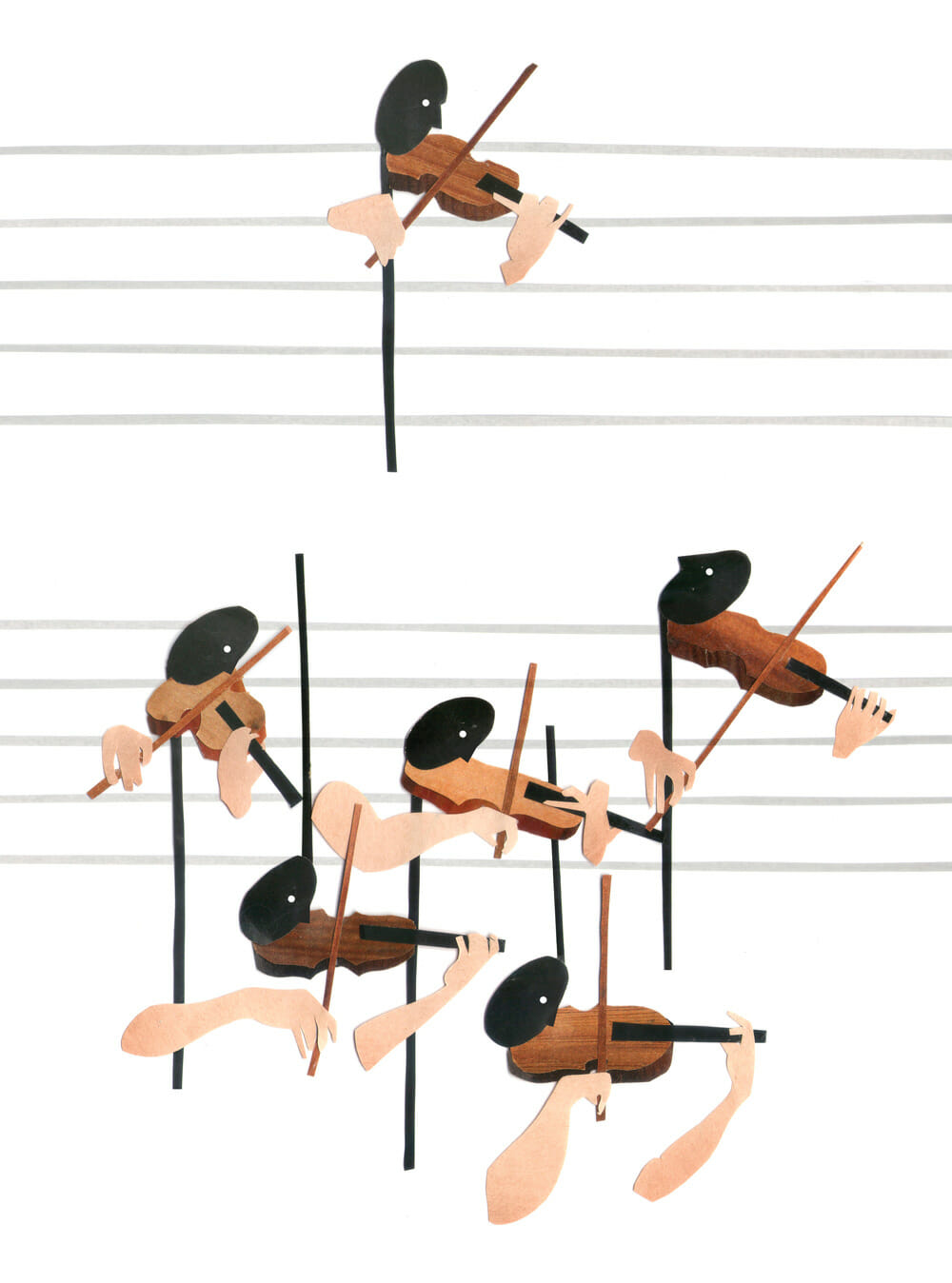 Beats on a section of sheet music sprout human arms and play the violin.