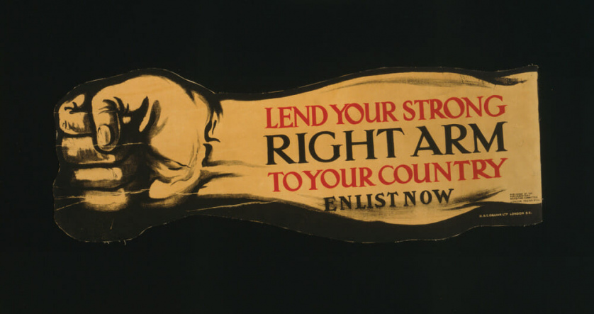 "The words, ""LEND YOUR STRONG RIGHT ARM TO YOUR COUNTRY ENLIST NOW,"" is stamped on an arm making a fist fit for punching."