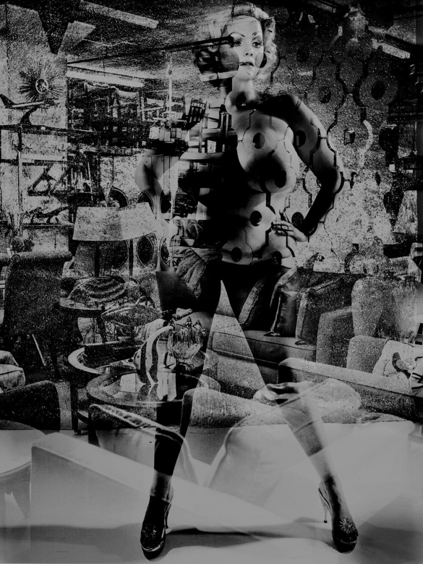 A black-and-white collage in which a voluptuous woman with a 1950s hairstyle is superimposed over a scene of a furniture store.