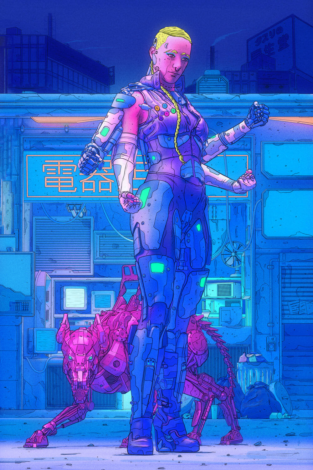 A four-armed woman in futuristic garb poses with a robotic dog in front of a neon-tinted Japanese business sign.