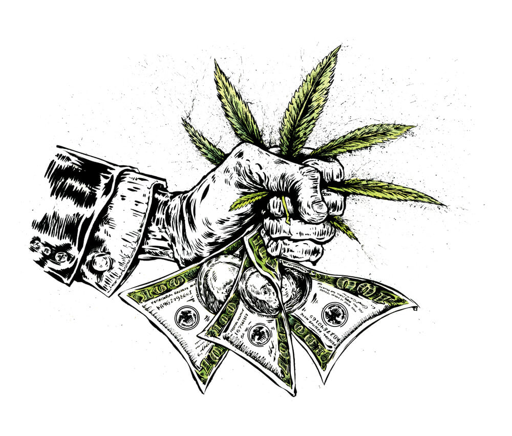 A businessman's clenched fist squeezes hundred dollar bills and a marijuana leaf.