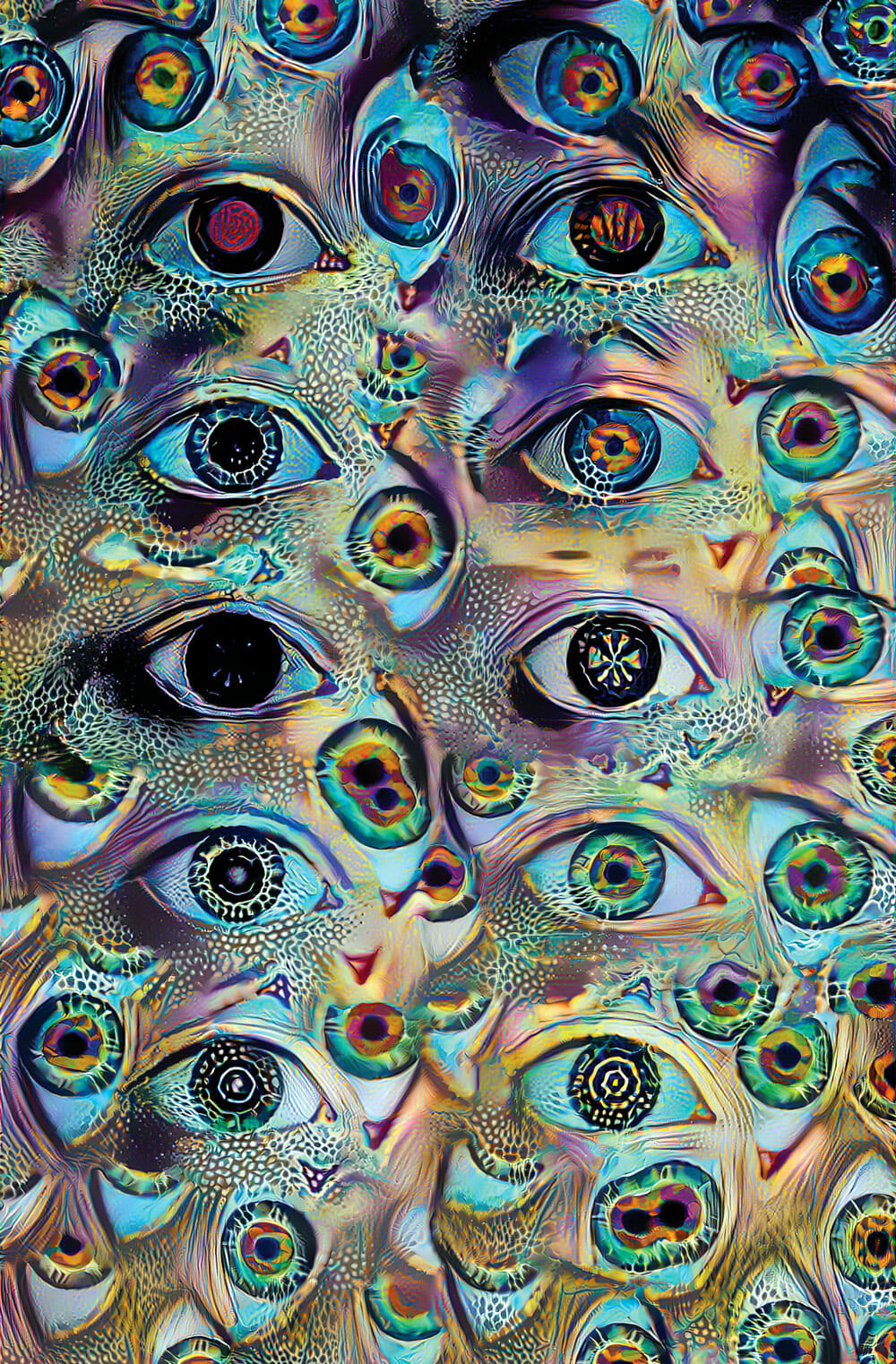 A collage of psychedelic eyes peer at the viewer.