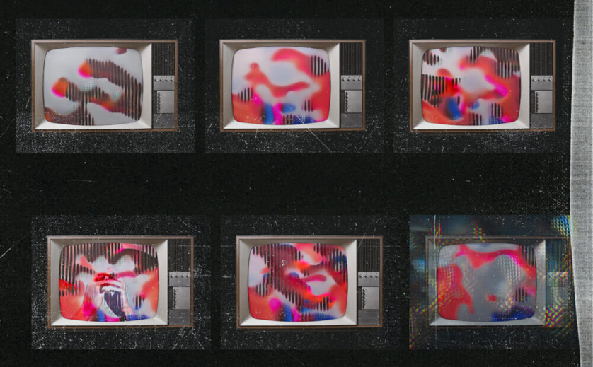 Six TVs, stacked three by two, display distorted red and blue figures.