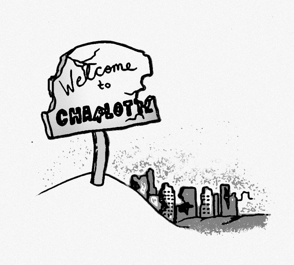 "A broken sign reading ""Welcome to Charlotte"" on a hill standing before the remains of the ruined city."