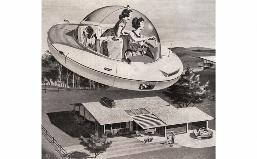 A 1950s-era mother and daughter ride home in a flying saucer with their groceries. A basset hound in the back seat looks out the clear canopy at the midcentury house below, where another flying saucer is parked in the driveway.