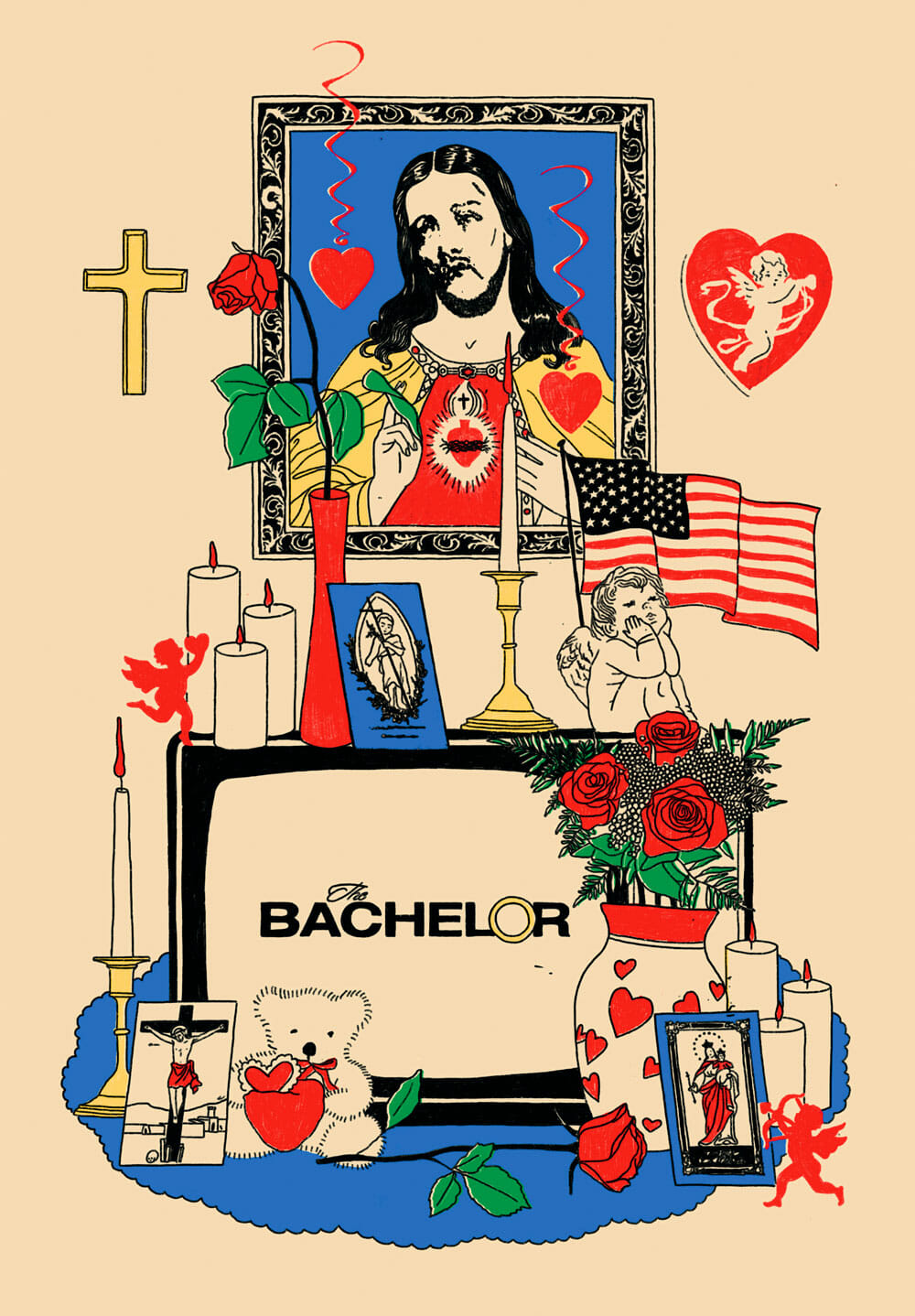 A picture of Jesus Christ hangs above a shrine to The Bachelor, complete with candles, cross, case of roses, and American flag. The Bachelor logo appears on a TV set at the center of the altar.