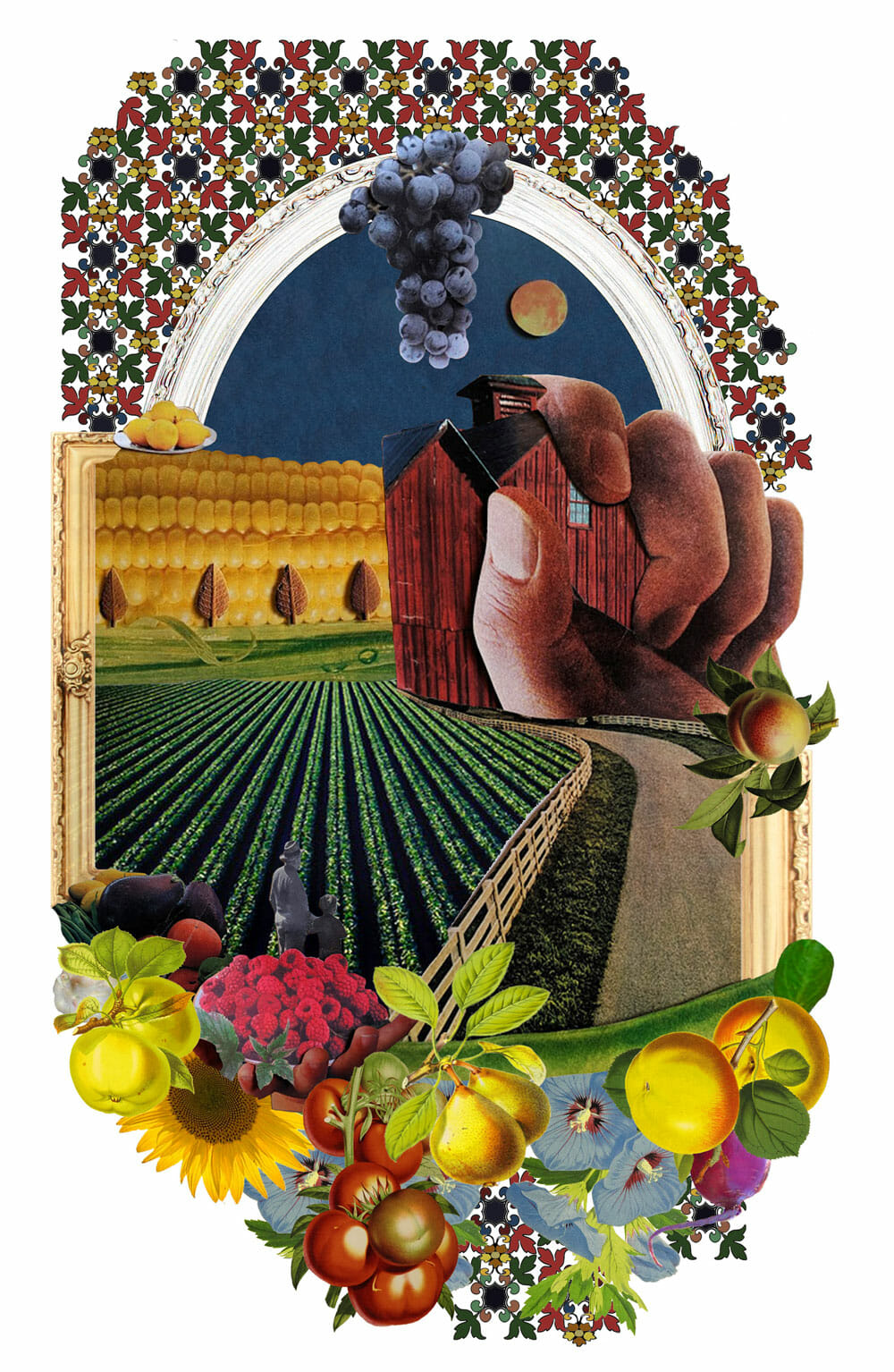 A collage made of colorful farming-related images: A giant hand wraps around a barn in front of a wall made from an ear of corn. Blueberries form a smoking chimney.
