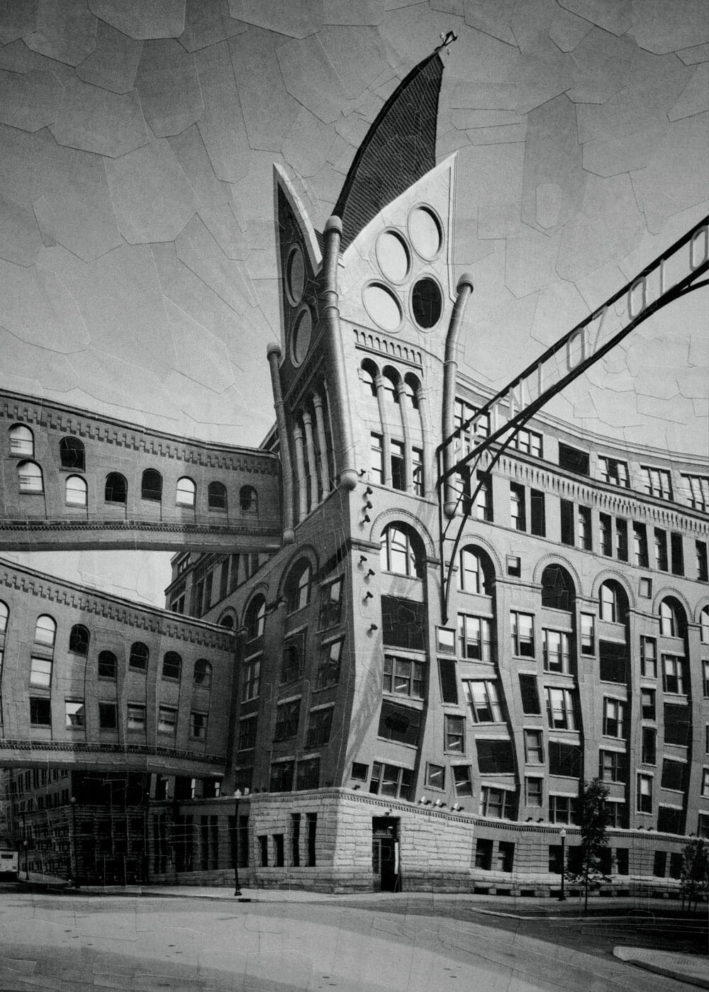 A surrealist greyscale rendering of an industrial building, with mismatched windows placed haphazardly all over. Two skyways connect it to another, unseen building.