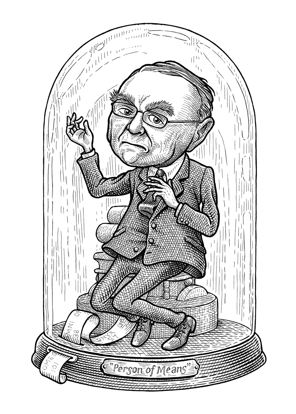 "A hermetically sealed container contains a scowling Leon Cooperman. Old timey ticker tape feeds outside the enclosure. The jar has a label reading ""Person of Means."""