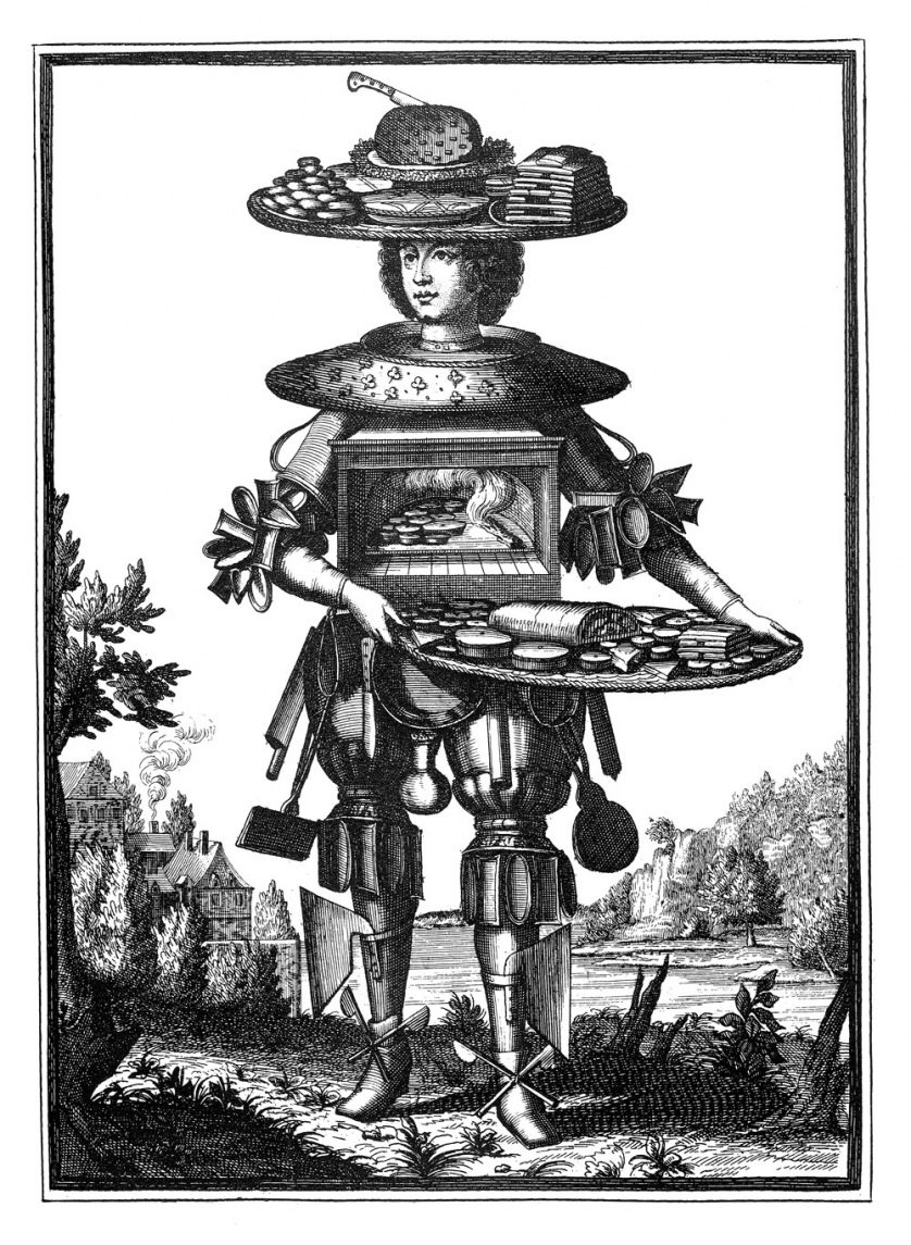 Drawn in a medieval style, a man wearing armor made of assorted kitchen appliances holds a tray.