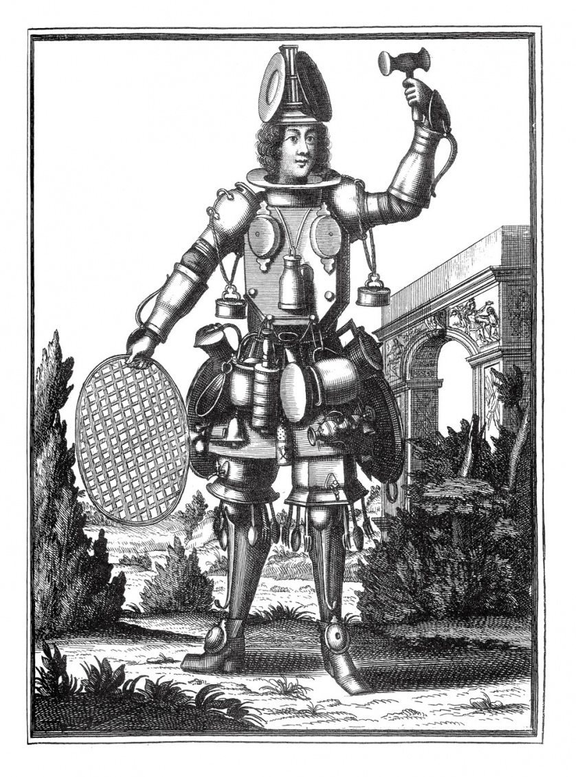 Drawn in a medieval style, a man wearing bizarre armor holds a gavel up in the air.