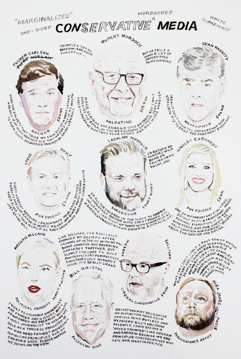 Conservative Media: Portraits of Tucker Carlson, Rupert Murdoch, Sean Hannity, Steve Doocy, Lachlan Murdoch, Ainsley Earhardt, Meghan McCain, Bill Kristol, Andrew Sullivan, and Alex Jones