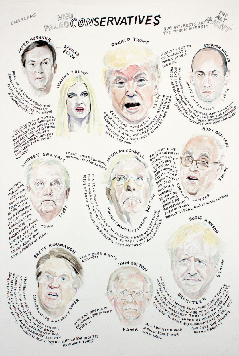 Neo/Paleo Conservatives: Portraits of Jared Kushner, Ivanka Trump, Donald Trump, Stephen Miller, Lindsey Graham, Mitch McConnell, Rudy Giuliani, Brett Kavanaugh, John Bolton, and Boris Johnson