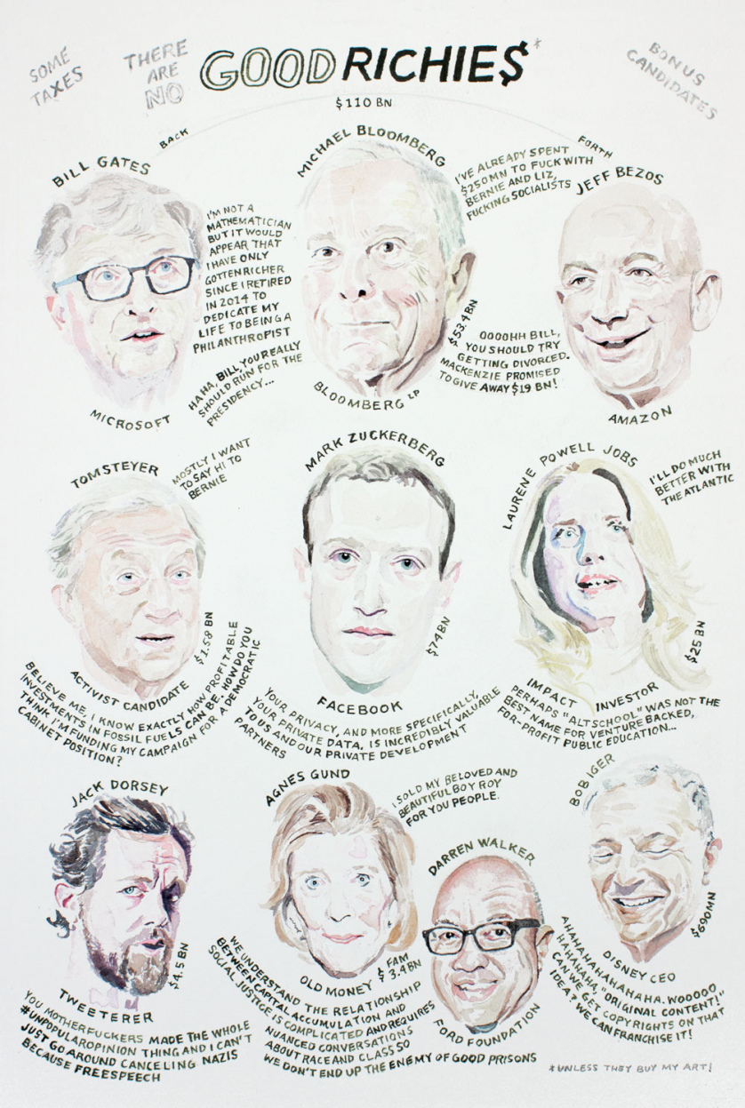 (There are no) Good Richies: Bill Gates, Michael Bloomberg, Jeff Bezos, Tom Steyer, Mark Zuckerberg, Laurene Powell Jobs, Jack Dorsey, Agnes Gund, Darren Walker, and Bob Iger