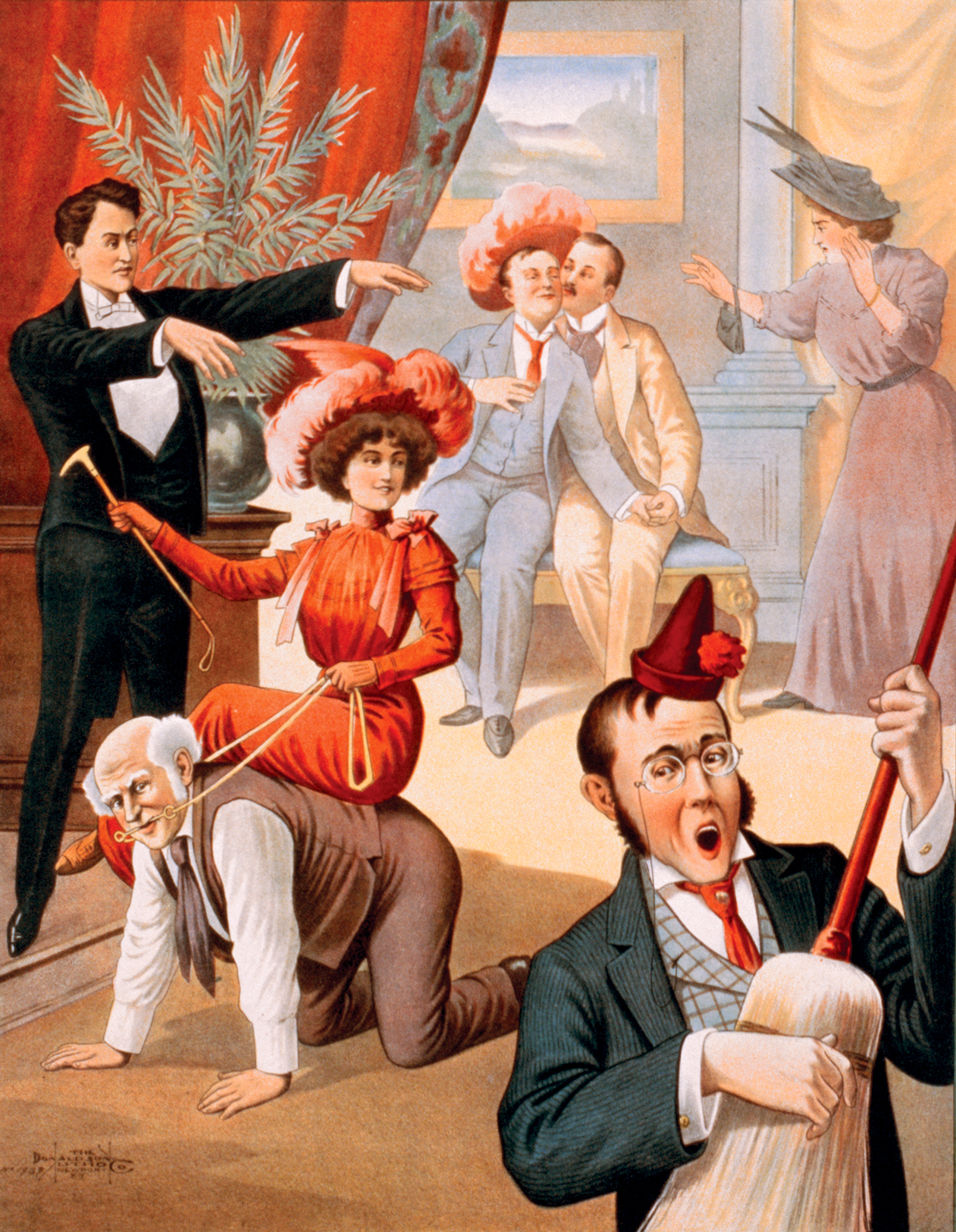 A hypnotist makes a mockery of party-goers as they revel in delight. A woman rides a man like a horse as he crawls on all fours, while a man wearing a party hat plays a broom as if it was a guitar.