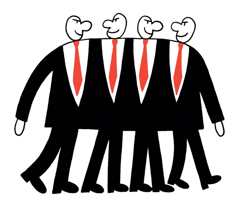 Four Business Bosses smirk maliciously as they walk in step as a single entity.