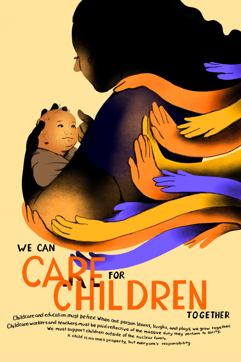 "Stylized as if it was a 1930s labor poster, the image reads ""We can care for children together."""